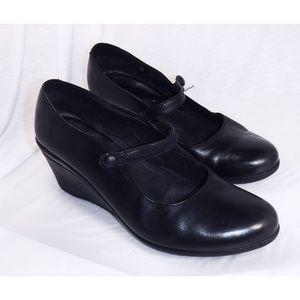 Clarks Black Leather Mary Jane Wedge